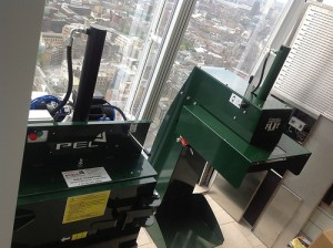 PEL Little Foot & Feather Weight Baler with a magnificent view from the 32nd Floor of The Shard, London